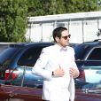 Exclusif - Jour 3 - Arrivée de Camille Combal, en costume de marié, à la Little white wedding chapel à Las Vegas le 2 avril 2016.  Dominique Jacovides/Bestimage