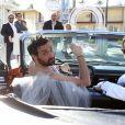 Exclusif - Mariage de Cyril Hanouna avec Camille Combal dans la Little White Wedding Chapel de Las Vegas le 2 avril 2016.  Dominique Jacovides/Bestimage