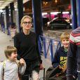 Sharon Stone et ses trois enfants Roan, Quinn, et Laird arrivent à l'aeroport d'Orly à Paris en provenance de Marrakech, le 30 novembre 2013.