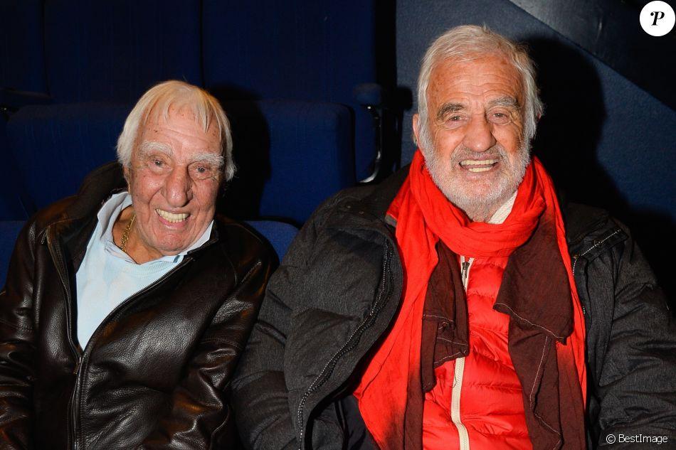 Exclusif - Charles Gérard et Jean-Paul Belmondo au concert de Charles Aznavour au Palais des Sports à Paris, le 21 décembre 2016. © Guirec Coadic/Bestimage