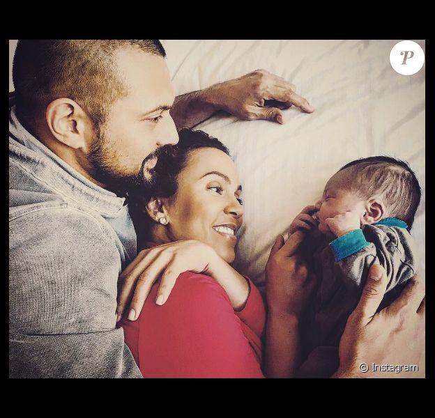 Sean Paul, sa femme Jodi Stewart et leur fils Levi Blaze Henriques sur une photo publiée sur Instagram le 26 février 2017