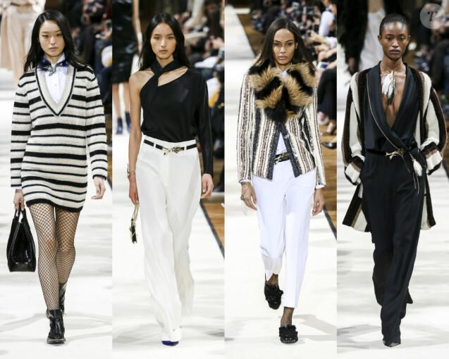 Les mannequins Yue Han, Luping Wang, Joan Smalls et Alicia Burke défilent pour Lanvin. Paris, le 1er mars 2017.