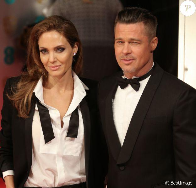 Brad Pitt et Angelina Jolie - Arrivée des people à la cérémonie des Bafta Awards à Londres, le 16 février 2014.