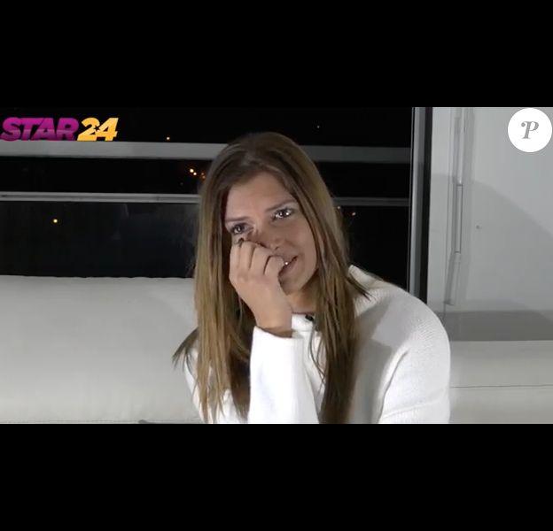 Maéva (Secret Story 10) en larmes en pleine interview, le 14 mars 2017.