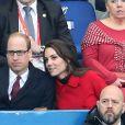 Le prince William et Kate Middleton assistent au match de Rugby France / Pays de Galles au Stade de France le 18 mars 2017.