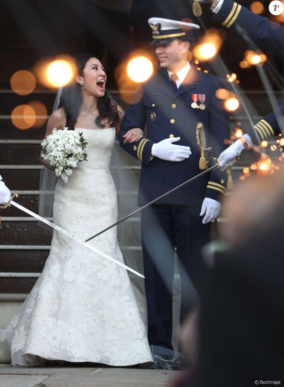 """Exclusif - Mariage de Michelle Kwan et Clay Pell a l'eglise """"First Unitarian"""" a Providence dans l'etat du Rhode Island, le 19 janvier 2013."""
