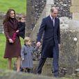 Kate Middleton et le prince William avec leurs enfants lors de la messe de Noël, le 25 décembre 2016, à Englefield dans le Berkshire, où sera célébré le mariage de Pippa et James Matthews le 20 mai 2017.