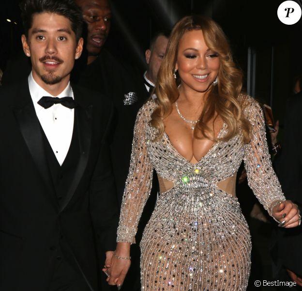 Exclusif - Mariah Carey et son compagnon Bryan Tanaka quittent la soirée du 40ème anniversaire de Floyd Mayweather à Los Angeles le 25 février 2017. © CPA/Bestimage