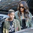 LaLa Anthony et son fils Kiyan Carmelo Anthony à New York City, le 4 octobre 2016. © Agence/Bestimage