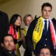 Louis Ducruet et sa compagne Marie lors de la victoire de l'AS Monaco contre le Borussia Dortmund (3-1) au stade Louis-II de Monaco le 19 avril 2017, synonyme de qualification pour les demi-finales de la Ligue des Champions. © Bruno Bebert/Bestimage