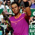 Rafael Nadal a battu A. Zverev, (qui fêtait aujourd'hui ses 20 ans) durant le Monte Carlo Rolex Masters 2017 sur le court Rainier III du Monte Carlo Country Club à Roquebrune Cap Martin, France, le 20 avril 2017.