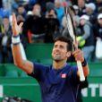 Novak Djokovic a battu Pablo Carreno Busta durant le Monte Carlo Rolex Masters 2017 sur le court Rainier III du Monte Carlo Country Club à Roquebrune Cap Martin, France, le 20 avril 2017.
