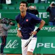 Novak Djokovic a battu Pablo Carreno Busta durant le Monte Carlo Rolex Masters 2017 sur le court Rainier III du Monte Carlo Country Club à Roquebrune Cap Martin, France, le 20 avril 2017. rtin