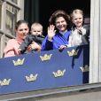 La princesse Victoria, le prince Oscar, la reine Silvia et la princesse Estelle - Célébration du 71e anniversaire du roi Carl XVI Gustaf de Suède à Stockholm le 30 avril 2017