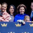 La princesse Victoria, le prince Oscar, la princesse Sofia, la reine Silvia, le prince Daniel et la princesse Estelle - Célébration du 71ème anniversaire du roi C. Gustav de Suède à Stockholm le 30 avril 2017 30/04/2017 - Stockholm