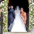 Pippa Middleton, son père Michael Middleton et sa soeur Catherine (Kate) Middleton, duchesse de Cambridge - Mariage de Pippa Middleton et James Matthews, en l'église St Mark's, à Englefield, Berkshire, Royaume Uni, le 20 mai 2017.