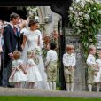 Pippa Middleton, James Matthews, Catherine (Kate) Middleton, duchesse de Cambridge et son fils le prince George de Cambridge - Mariage de Pippa Middleton et James Matthews, en l'église St Mark's, à Englefield, Berkshire, Royaume Uni, le 20 mai 2017.