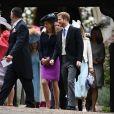 Le prince Harry a assisté le 20 mai 2017 au mariage de Pippa Middleton et James Matthews à l'église St Mark d'Englefield sans sa compagne Meghan Markle, qui attendait à Englefield House non loin de là et a ensuite pris part avec lui à la fête chez les Middleton, à Bucklebury.