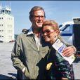 Roger Moore et Luisa Mattioli à Deauville en 1985.