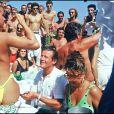 Roger Moore et Luisa Mattioli à Saint Tropez en 1986.