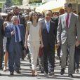 Le roi Felipe VI et la reine Letizia d'espagne reçoivent le président portugais Marcelo Rebelo de Sousa à l'occasion de l'inauguration du salon du livre à Madrid le 26 mai 2017