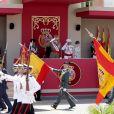La reine Letizia et le roi Felipe VI d'Espagne lors de la Journée nationale des forces armées à Guadalajara le 27 mai 2017