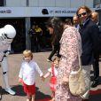 Andréa Casiraghi avec sa femme Tatiana Santo Domingo et leurs enfants Alexandre et India - 75e Grand Prix F1 de Monaco, le 28 mai 2017. © Michael Alesi / Bestimage