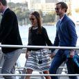 Pippa Middleton et son mari James Matthews partent du port de Sydney en hydravion pour se rendre à Cottage Point, Australie, le 31 mai 2017. James porte bien à l'annulaire de la main gauche une alliance, un usage peu courant chez les hommes de la haute société britannique.