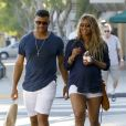 Russell Wilson et sa femme Ciara, enceinte, font du shopping à West Hollywood le 11 mars 2017