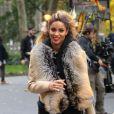 Ciara danse dans la rue à New York pour les besoins d'un clip le 3 novembre 2016.