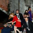 Jessica Chastain et son fiancé Gian Luca Passi de Preposulo lors de la fête à la veille de leur mariage à Venise, le 9 juin 2017.