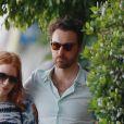 Jessica Chastain et son compagnon Gian Luca Passi De Preposulo passent un moment en amoureux à Beverlys Hills, le 10 avril 2016.