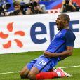 Djibril Sidibé célèbre son but - Match de football amical France - Angleterre (3-2) au Stade de France , le 13 juin 2017. © Pierre Perusseau/Bestimage