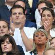 Juan Arbelaez et sa compagne Laury Thilleman (Miss France 2011) au match amical France - Angleterre au Stade de France le 13 juin 2017. © Cyril Moreau/Bestimage