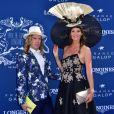 Sophie Thalmann en robe C. Guillarmé (Miss France 1998) et Christophe Guillarmé - 168e Prix de Diane Longines à l'hippodrome de Chantilly, France, le 18 juin 2017. © Giancarlo Gorassini/Bestimage