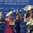 Mikaela Shiffrin, Marie-Sarah gagne le concours d'élégance Mademoiselle Diane par Longines et Sophie Thalmann en robe C. Guillarmé (Miss France 1998) - 168e Prix de Diane Longines à l'hippodrome de Chantilly, France, le 18 juin 2017. © Giancarlo Gorassini/Bestimage