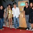 """George Clooney et sa femme Amal Alamuddin Clooney, Cindy Crawford et son mari Rande Gerber - Soirée de lancement de la marque de téquila """"Casamigos"""" à Ibiza, le 23 août 2015."""