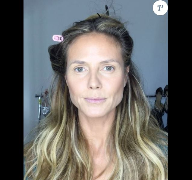 heidi klum sans maquillage les coulisses de sa mise en beaut purepeople. Black Bedroom Furniture Sets. Home Design Ideas