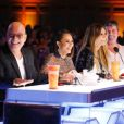 Howie Mandel, Mel B, Heidi Klum et Simon Cowell sur le plateau d'America's Got Talent. Juin 2017.