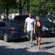 Exclusif - Zahia Dehar se promène avec un ami près du rond-point des Champs-Elysées seulement 15 minures après la tentative d'attentat d'un homme de 31 ans qui a foncé sur un fourgon de gendarmerie avec sa voiture le 19 juin 2017.