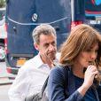 Exclusif - Carla Bruni-Sarkozy et son mari l'ancien Président Nicolas Sarkozy quittent un hôtel de New York le 14 juin 2017. Carla Bruni-Sarkozy a chanté la veille, le 13 juin 2017 des extraits de son nouvel album «French Touch» dans le club de jazz «Le Poisson rouge» dans le quartier de Greenwich.