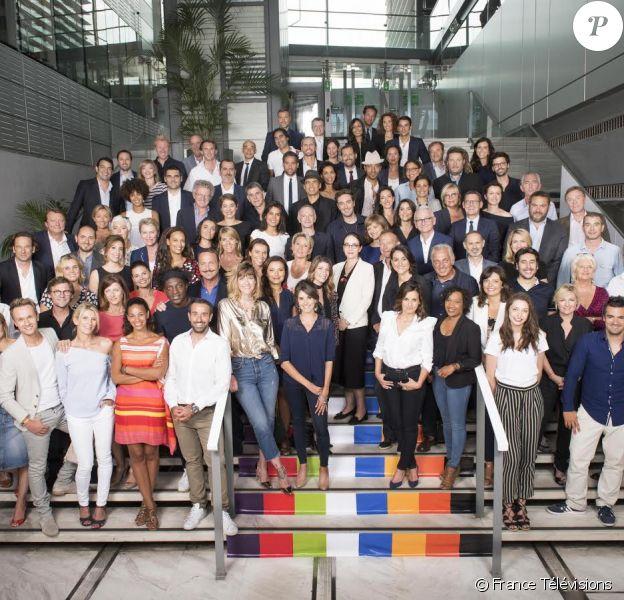 Les équipes de France Télévisions lors de la conférence de presse visant à dévoiler la grille de rentrée du groupe, le 5 juillet 2017 à Paris.