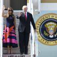 Le président Donald Trump et sa femme Melania arrivent à l'aéroport de Hambourg à bord de Air Force One le 6 juillet 2017. © Future-Image via ZUMA Press / Bestimage