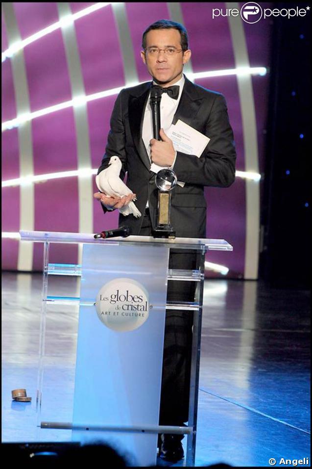 Jean-Luc Delarue à la cérémonie des Globes de Cristal. 02/02/09