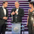 Jean-Luc Delarue, Jacques Attali et Carole Gaessler à la cérémonie des Globes de Cristal. 02/02/09