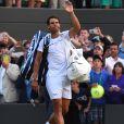 Rafael Nadal éliminé par le Luxembourgeois Gilles Muller lors des huitièmes de finale de Wimbledon, à Londres, le 10 juillet 2017.