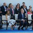 Melania Trump, son mari le président des Etats-Unis Donald Trump, le président de la République Emmanuel Macron et les membres du gouvernement lors du défilé du 14 juillet (fête nationale), place de la Concorde, à Paris, le 14 juillet 2017, avec comme invité d'honneur le président des Etats-Unis. © Dominique Jacovides/Bestimage