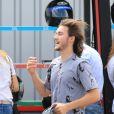 Exclusif - René-Charles Angélil (fils de Céline Dion) fait du karting avec ses amis à Cergy-Pontoise le 6 juillet 2017.