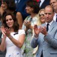 Kate Middleton et le prince William assistaient le 16 juillet 2017 à la finale du tournoi de Wimbledon entre Roger Federer et Marin Cilic, à Londres.