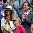 Pippa Middleton et son mari James Matthews à Wimbledon le 14 juillet 2017, lors des demi-finales hommes.